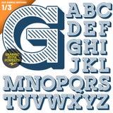 Vektorillustration av ett gammalmodigt alfabet Arkivbilder