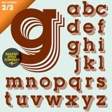 Vektorillustration av ett gammalmodigt alfabet Arkivbild