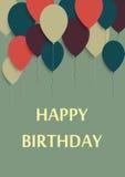 Vektorillustration av ett hälsningkort för lycklig födelsedag Royaltyfri Bild