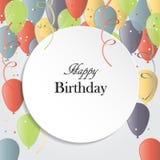 Vektorillustration av ett hälsningkort för lycklig födelsedag stock illustrationer