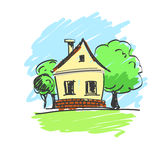 Vektorillustration av ett hus med ett landskap Arkivfoton