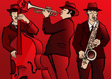 Jazzmusikband med den bas- saxofonen och trumpet Royaltyfri Bild