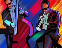 Jazzmusikband med trumpet och basfiol Royaltyfri Bild