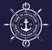 Vektorillustration av ett ship'shjulrep på mörk bakgrund royaltyfri illustrationer