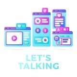 Vektorillustration av ett socialt massmediakommunikationsbegrepp Ordet låter samtal med färgrika kors-plattformen webbläsarefönst stock illustrationer