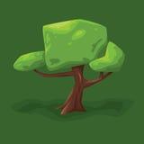 Vektorillustration av ett träd med en stor krona på en grön bakgrund Arkivbilder