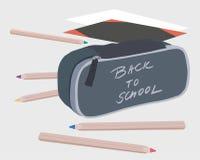 Vektorillustration av färgpennor och skolafallet med inscripten vektor illustrationer