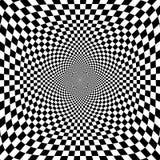 Vektorillustration av svartvit schackbakgrund för optisk illusion vektor illustrationer