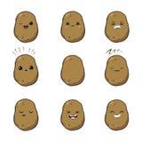 Vektorillustration av för tecknad filmgrönsak för potatisar ett gulligt tecken för vektor - uppsättning som isoleras på vit sinne royaltyfri illustrationer