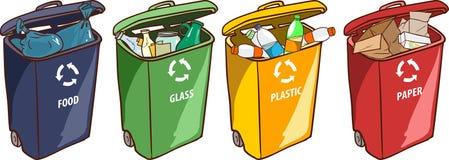 Vektorillustration av fack för en återvinning för pappers- plast- exponeringsglas Royaltyfria Bilder