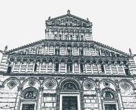 Vektorillustration av fasaden av domkyrkan av Pisa i fyrkanten av mirakel, Tuscany, Italien royaltyfri illustrationer