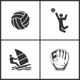 Vektorillustration av fastställda symboler för sport Beståndsdelar av boll-, volleyboll-, surfing- och baseballhandskesymbol royaltyfri illustrationer