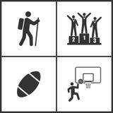 Vektorillustration av fastställda symboler för sport Beståndsdelar av den klättrare-, mästare-, rugbybollen, basketkorgen och bol stock illustrationer