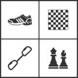 Vektorillustration av fastställda symboler för sport Beståndsdelar av det gymnastiksko-, schackbrädet, den Carabiner och schacksy royaltyfri illustrationer