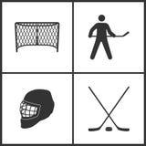 Vektorillustration av fastställda symboler för sport Beståndsdelar av hockeymålgeyts, den hockeyspelare-, hockeyhjälm- och hockey stock illustrationer