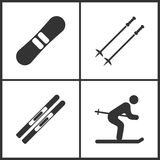 Vektorillustration av fastställda symboler för sport Beståndsdelar av snowboarden, skidar poler, skidar och skidar symbolen stock illustrationer