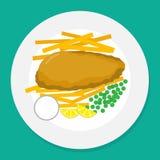 Vektorillustration av fisken och chiper på plattan Royaltyfri Illustrationer