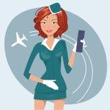 Vektorillustration av flickan i stewardesslikformig Arkivfoton