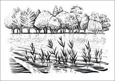 Vektorillustration av flodlandskapet med träd, vattenvågor och reflexion Svartvitt skissa stock illustrationer