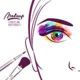 Vektorillustration av framsidan för ung kvinna med färgrika ögon- och makeupborstar Arkivfoto