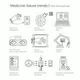 Vektorillustration av framtida medicintrender Arkivfoto