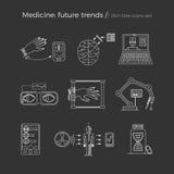 Vektorillustration av framtida medicintrender Vektor Illustrationer