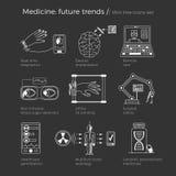 Vektorillustration av framtida medicintrender Stock Illustrationer