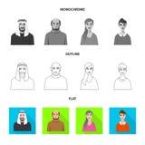 Vektorillustration av frisyr- och yrkesymbolet Samling av illustrationen för frisyr- och teckenmaterielvektor stock illustrationer