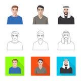 Vektorillustration av frisyr- och yrkesymbolet Samling av illustrationen f?r frisyr- och teckenmaterielvektor stock illustrationer