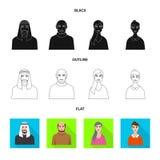 Vektorillustration av frisyr- och yrkesymbolet Ställ in av frisyr- och teckenmaterielsymbolet för rengöringsduk royaltyfri illustrationer
