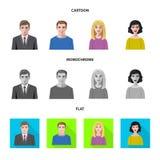 Vektorillustration av frisyr- och yrketecknet Samling av illustrationen för frisyr- och teckenmaterielvektor stock illustrationer