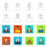 Vektorillustration av frisyr- och yrketecknet Samling av frisyr- och teckenmaterielsymbolet f?r reng?ringsduk vektor illustrationer