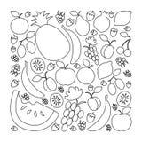 Vektorillustration av fruktuppsättningen i plan linjär designstil på royaltyfri illustrationer