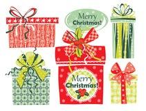 Vektorillustration av gåvor för glad jul Royaltyfri Bild