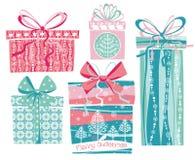Vektorillustration av gåvor för glad jul Arkivbild