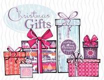 Vektorillustration av gåvor för glad jul Royaltyfria Foton