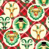 Vektorillustration av geten och får, symbol av 2015 Sömlöst p Royaltyfri Foto