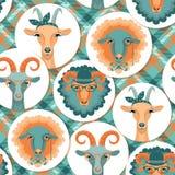 Vektorillustration av geten och får, symbol av 2015 Sömlöst p Royaltyfri Bild