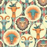 Vektorillustration av geten och får, symbol av 2015 Sömlöst p Arkivbilder