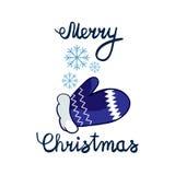 Vektorillustration av glad jul som märker med den drowing handen och snöflingor för tecknad film Beståndsdel för designbaner Arkivfoton