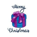Vektorillustration av glad jul som märker med den närvarande drowing violeten för tecknad film Beståndsdel för designbaner, rengö Arkivbilder