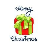 Vektorillustration av glad jul som märker med tecknade filmen som drowing röd gåva Beståndsdel för designbaner, rengöringsduk och Royaltyfri Fotografi