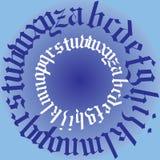 Vektorillustration av gotiska bokstäver för alfabet i cirkelform Arkivfoto