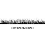 Vektorillustration av grå panoramastadsbakgrund royaltyfri illustrationer