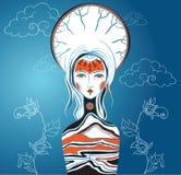 Vektorillustration av gudinnan Kvinnlig arketyp Nat moder royaltyfri illustrationer