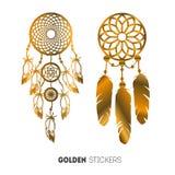 Vektorillustration av guld- Dreamcatcher klistermärkear, prålig tillfällig tatuering Arkivbild
