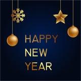 Vektorillustration av guld för glad jul och det blåa collorsstället för svart för textjulbollar, stjärnor och snöflinga hälsning Royaltyfri Fotografi
