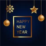 Vektorillustration av guld för glad jul och det blåa collorsstället för svart för textjulbollar, stjärnor och snöflinga hälsning Royaltyfri Foto