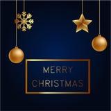 Vektorillustration av guld för glad jul och det blåa collorsstället för svart för textjulbollar, stjärnor och snöflinga hälsning Royaltyfria Bilder