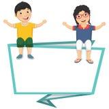 Vektorillustration av gulliga barn som sitter på Bl Royaltyfri Bild